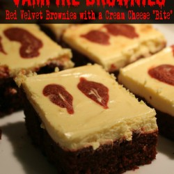 Vampire Brownies Red Velvet Brownies with a Cream Cheese Bite