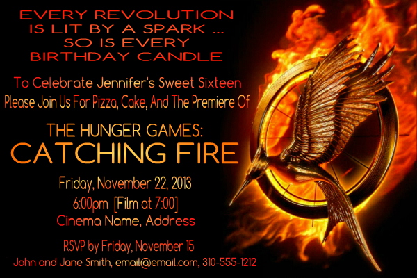 Sample Catching Fire Invite