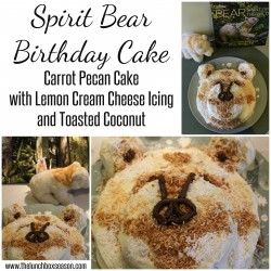 Spirit Bear Birthday Cake Carrot Pecan Cake with Lemon Cream Cheese Icing and Toasted Coconut