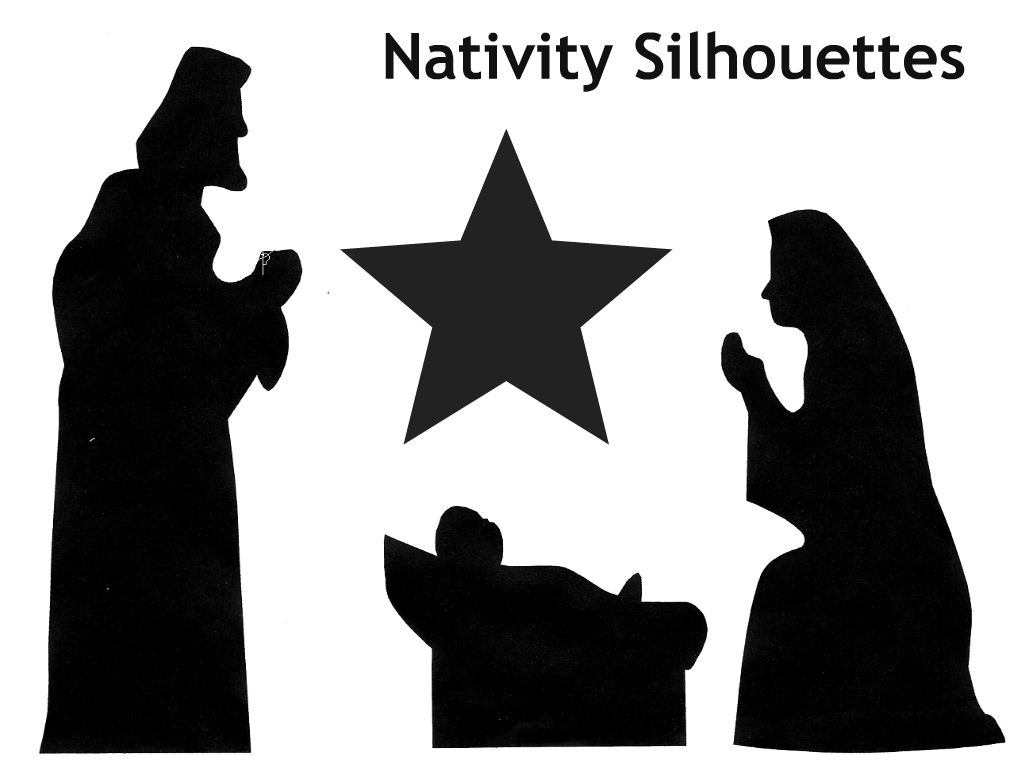 Clever image inside free printable silhouette of nativity scene