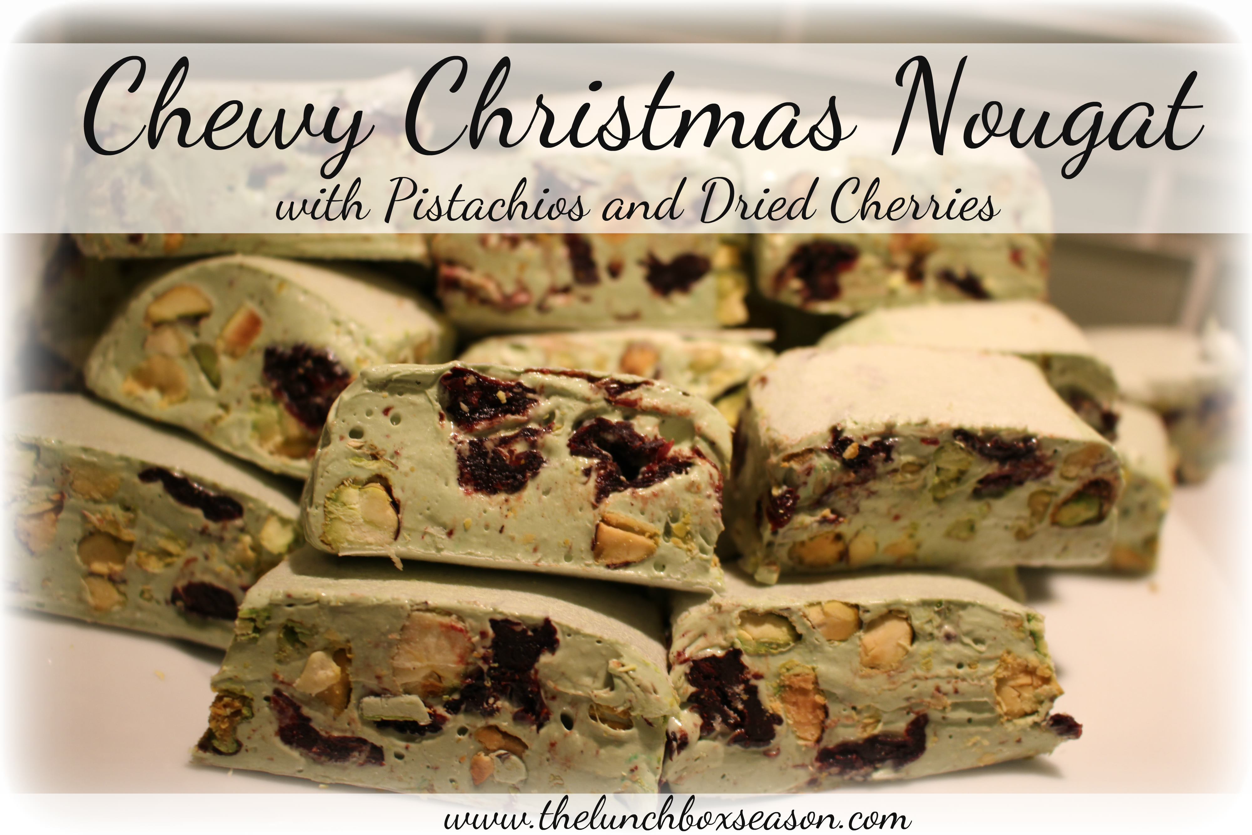 Chewy Christmas Nougat with Pistachios and Dried Cherries