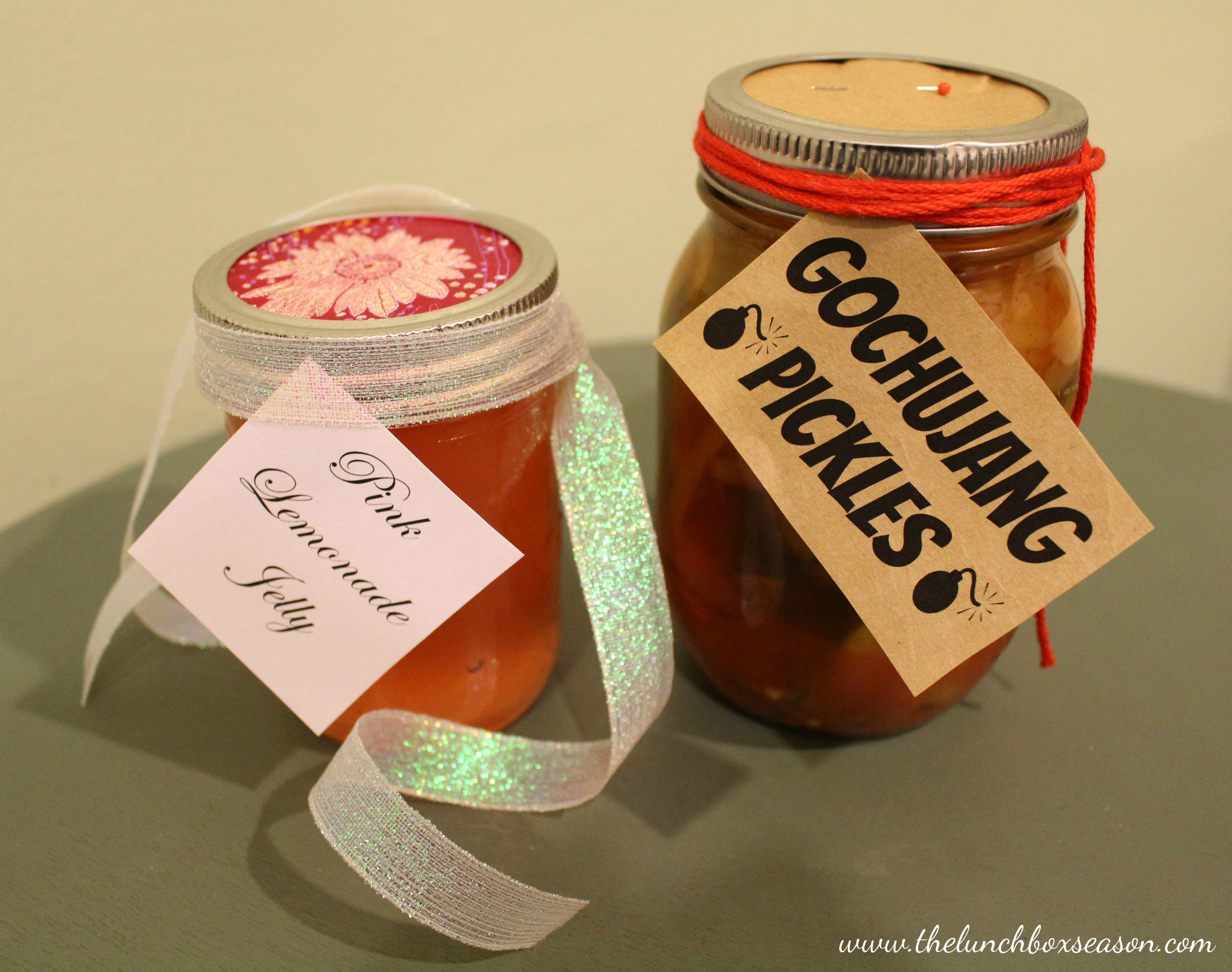 Pink lemonade jelly and gochujang pickles all dressed up for giving from The Lunchbox Season dot com
