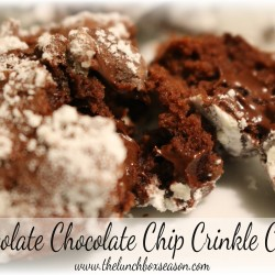chocolate chocolate chip crinkle kringle cookies from the lunchboxseason