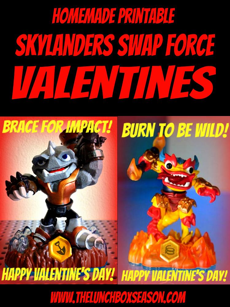Homemade Printable Skylanders Swap Force Valentines from The Lunchbox Season