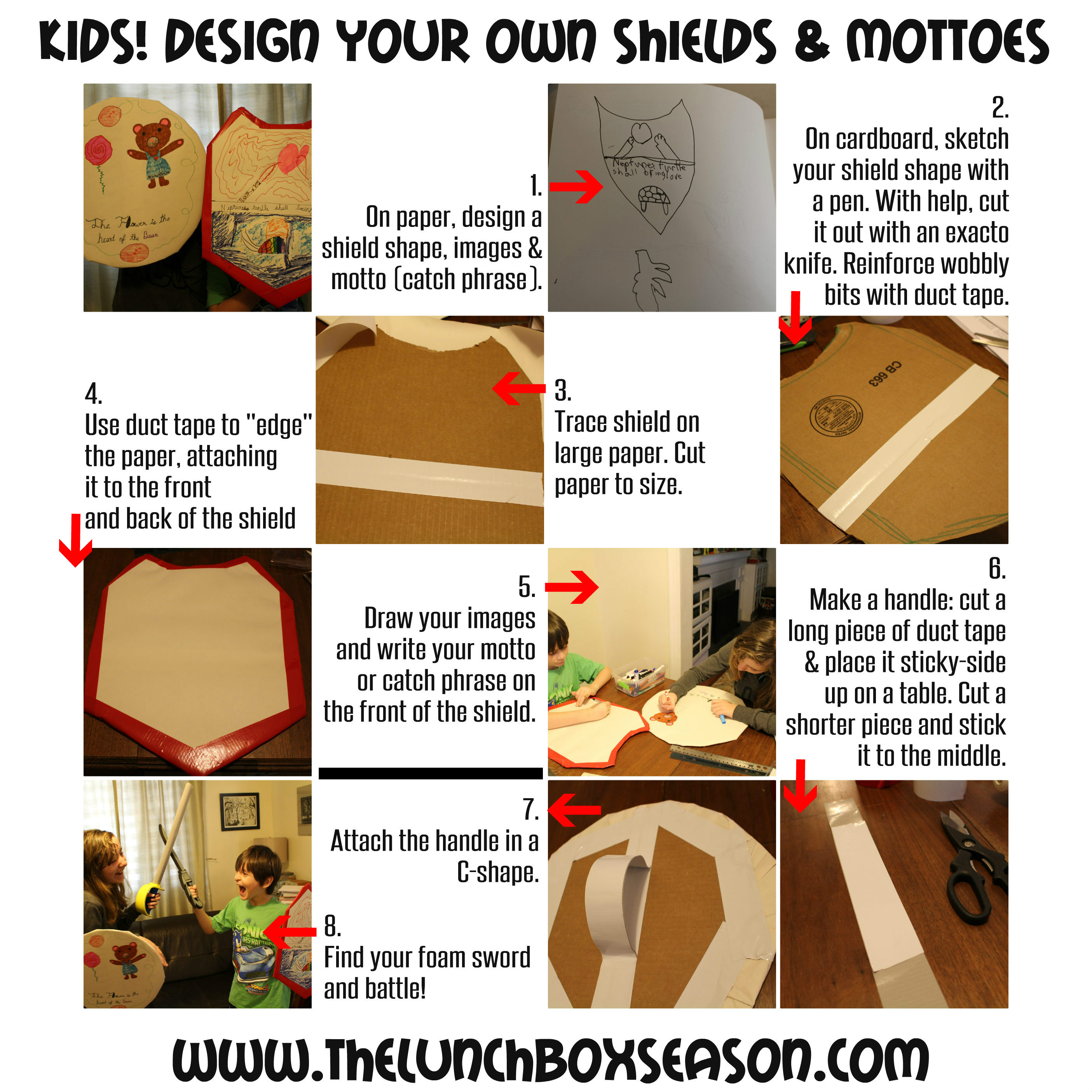 Kids!! Design your own shields and mottoes