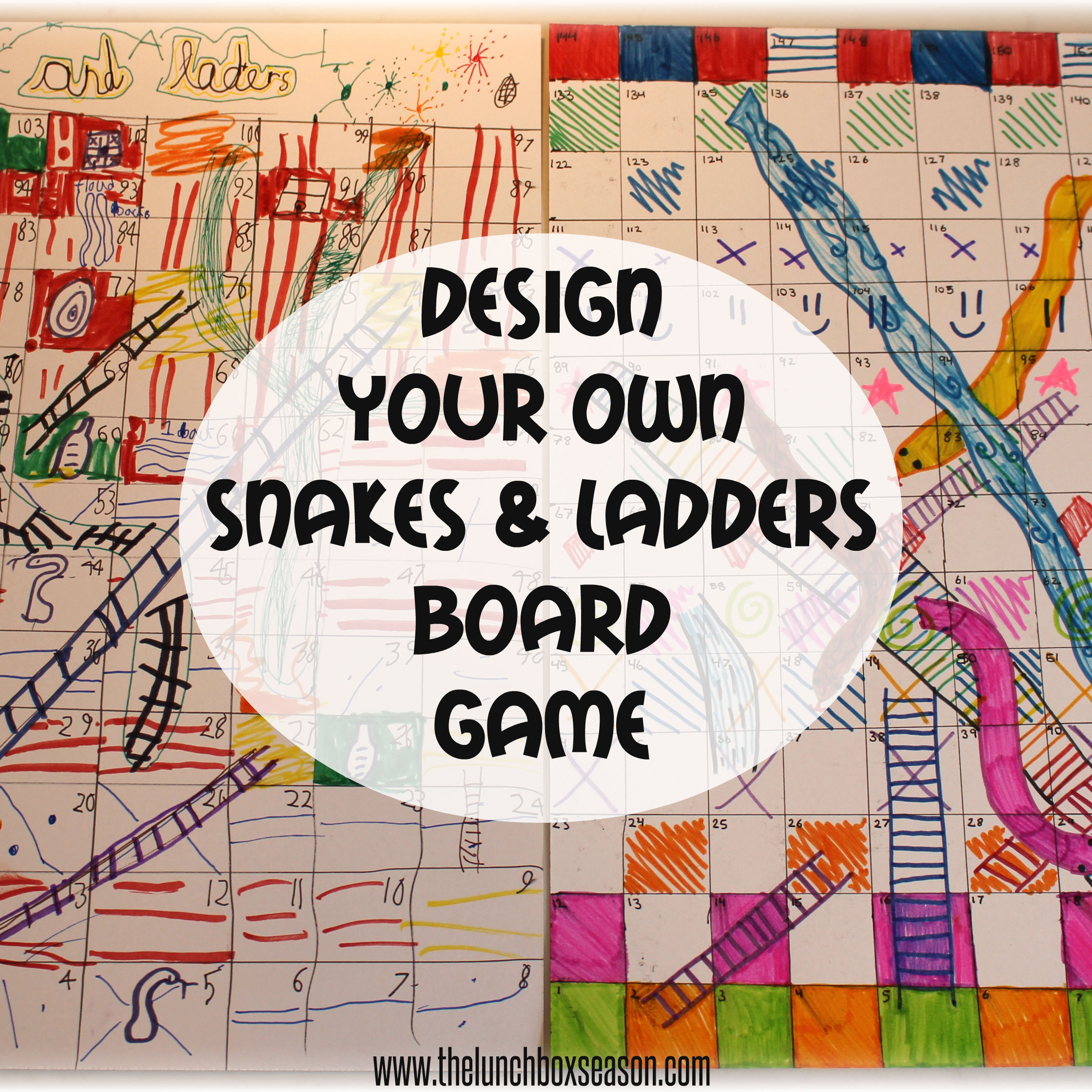 March breack 2014 design your own snakes and ladders for Chutes and ladders board game template
