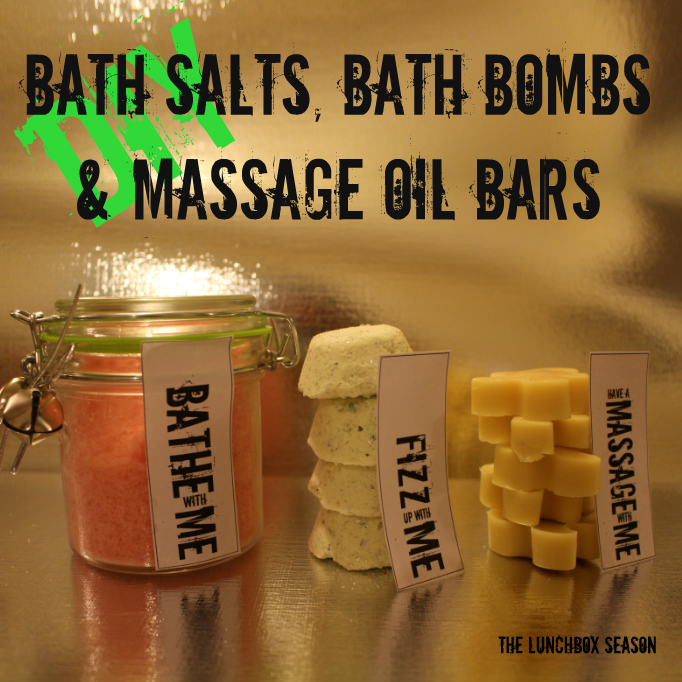 DIY Bath salts, bath bombs and massage oil bars