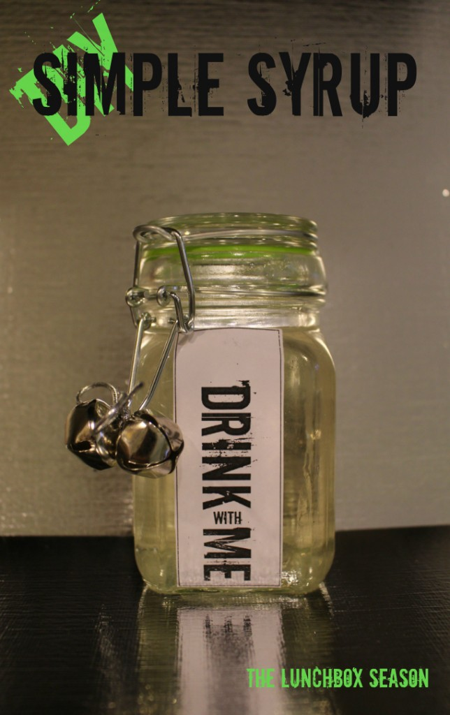 DIY Simple Syrup for Holiday Cocktails or Anytime cocktails with a printable label