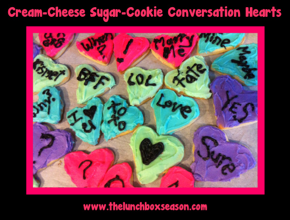 cream cheese sugar cookie conversation hearts