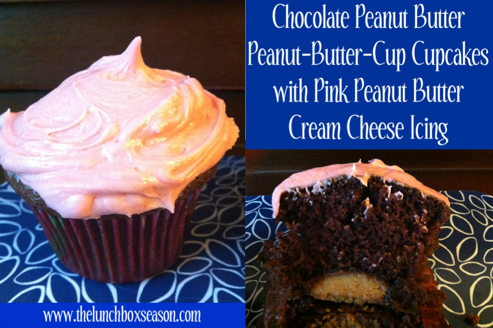 Chocolate Peaanut Butter Peanut-Butter-Cup Cupcakes with Pink Peanut Butter Cream Cheese Icing