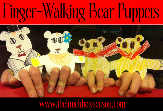 Finger-Walking Bear Puppets with Free Printable Template from thelunchboxseason