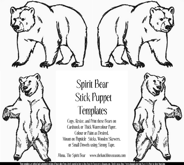 Spirit Bear Stick Puppet Templates