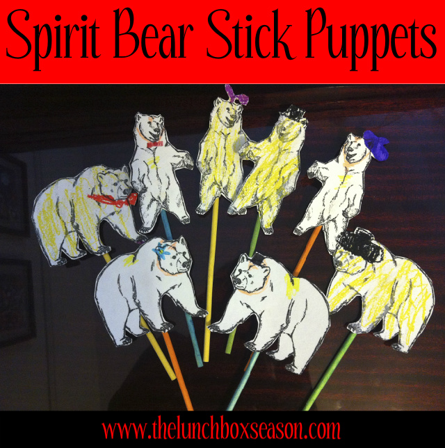 Spirit Bear Stick Puppets with Free Printable Template from thelunchboxseason