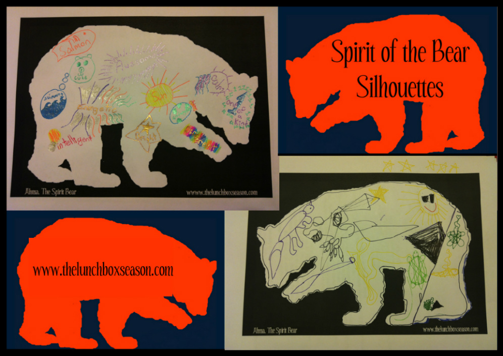 spirit of the bear silhouettes by the lunchbox season with a free blank printable for your kids to use