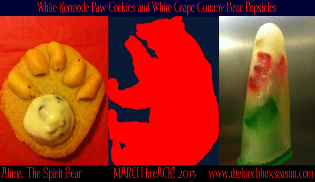 White Bear Paw Cookies and White Grape Gummy Bear Popsicles