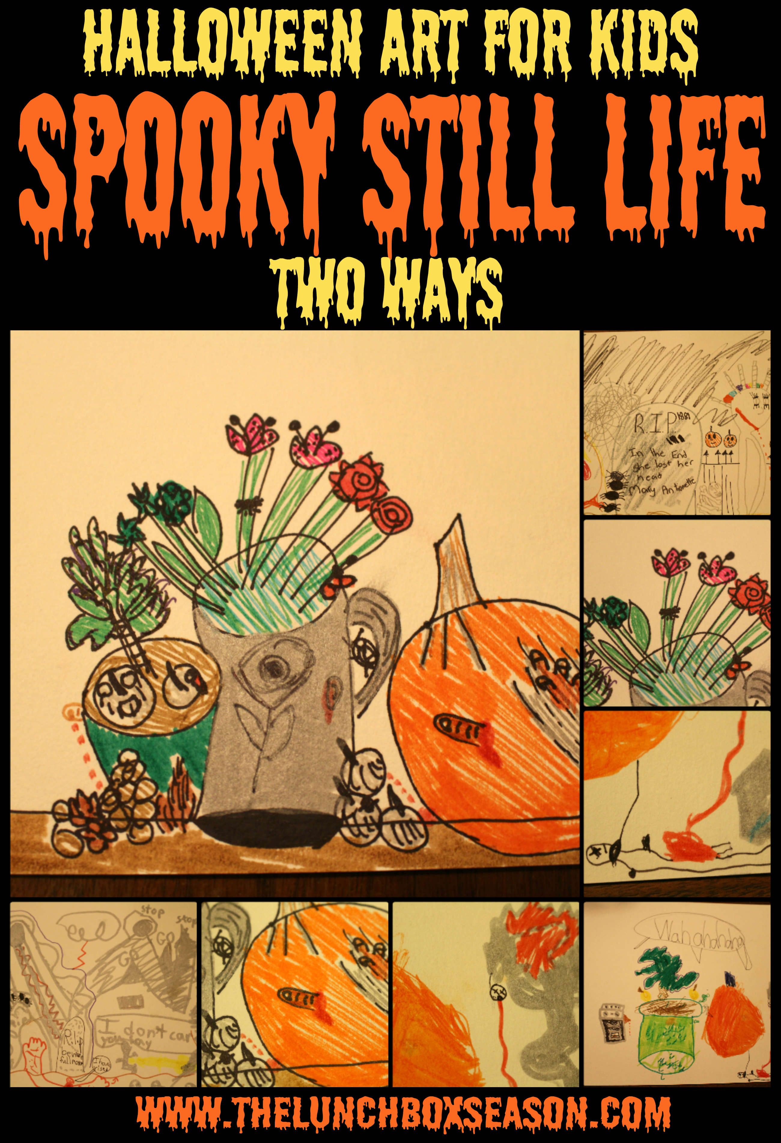 Painting A Dining Room Table Halloween Art For Kids Spooky Still Life Two Ways The