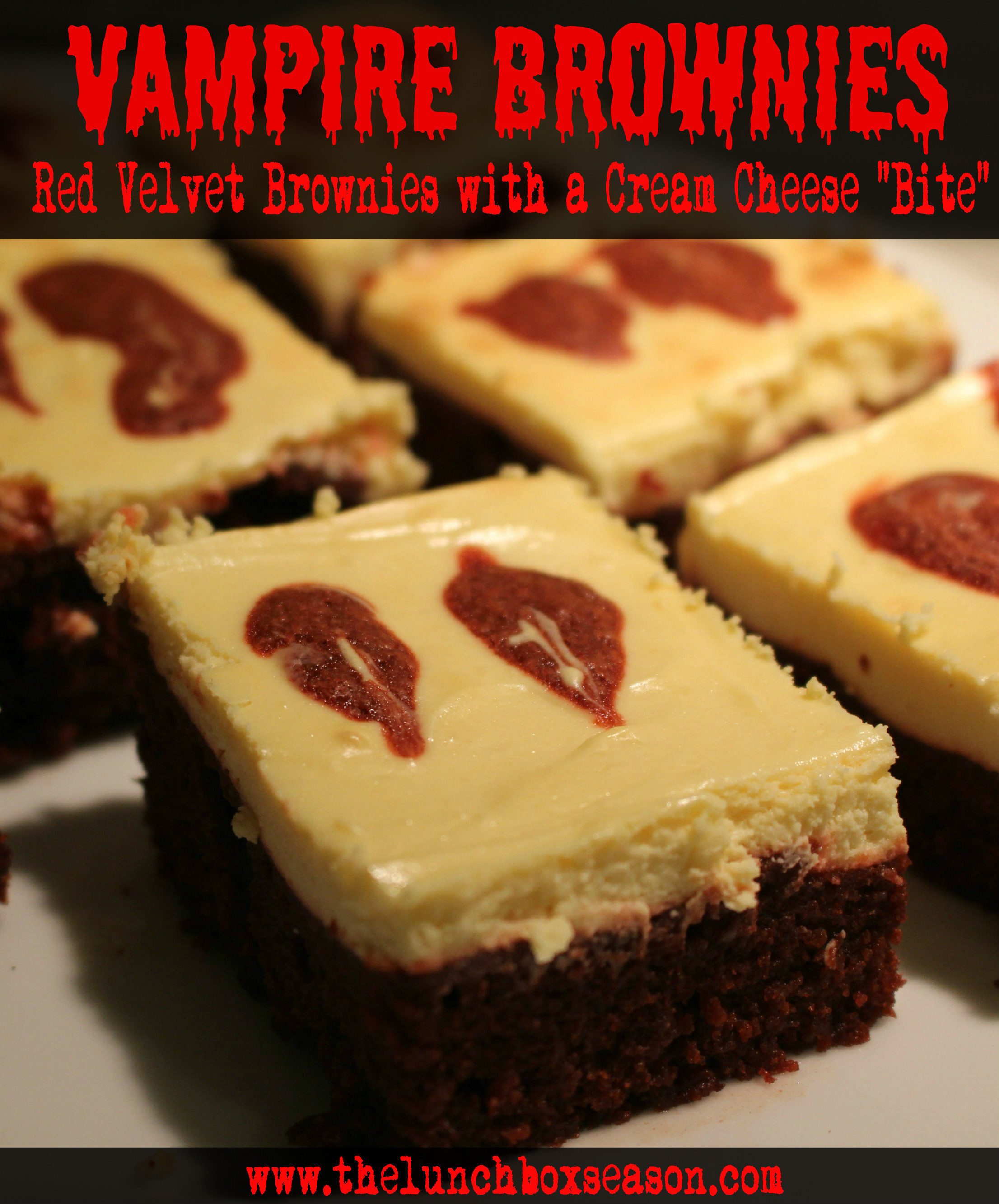 Vampire Brownies Red Velvet Brownies with a Cream Cheese Bite