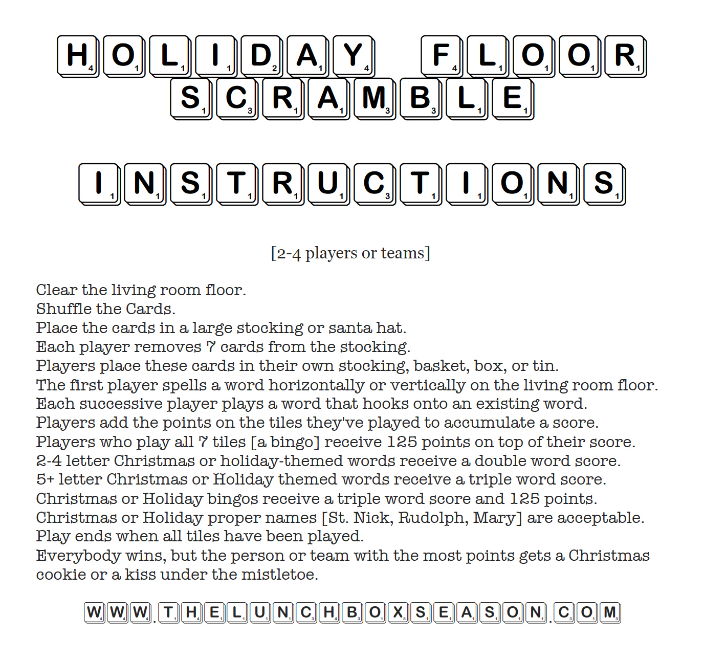 Printable Holiday Floor Scramble Instructions from the Lunchbox Season