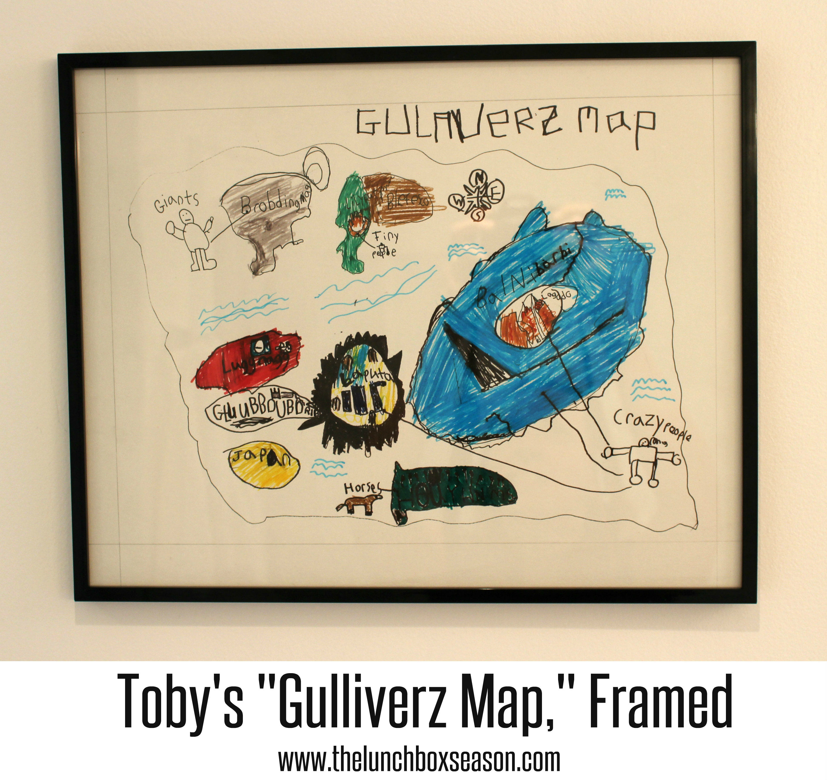 Toby's Gulliverz Map Framed