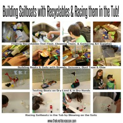 Building Sailboats with Recyclables & Racing them in the Tub ! Such Fun!