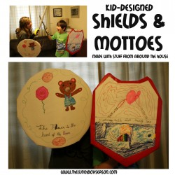 Kid-Designed Shields & Mottoes made with stuff from around the house