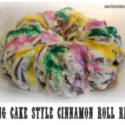 King Cake Style Cinnamon Roll Ring from the Lunchbox Season