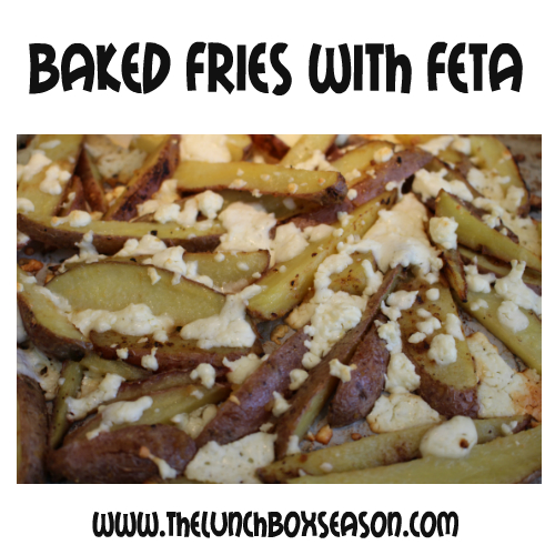 The kids make Baked Fries with Feta