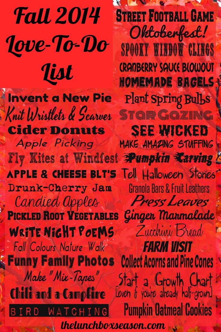 Fall 2014 Love-to-do List Fall Bucket list