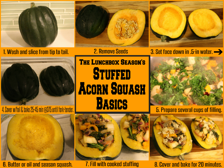 The Lunchbox Season's Stuffed Acorn Squash Basics - Weekday Main or Thanksgiving Side