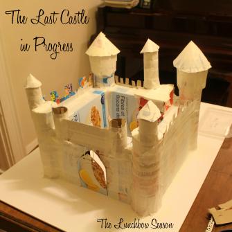 Kids Carboard Castle in Progress 1