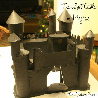 Kids Cardboard Castle before painting