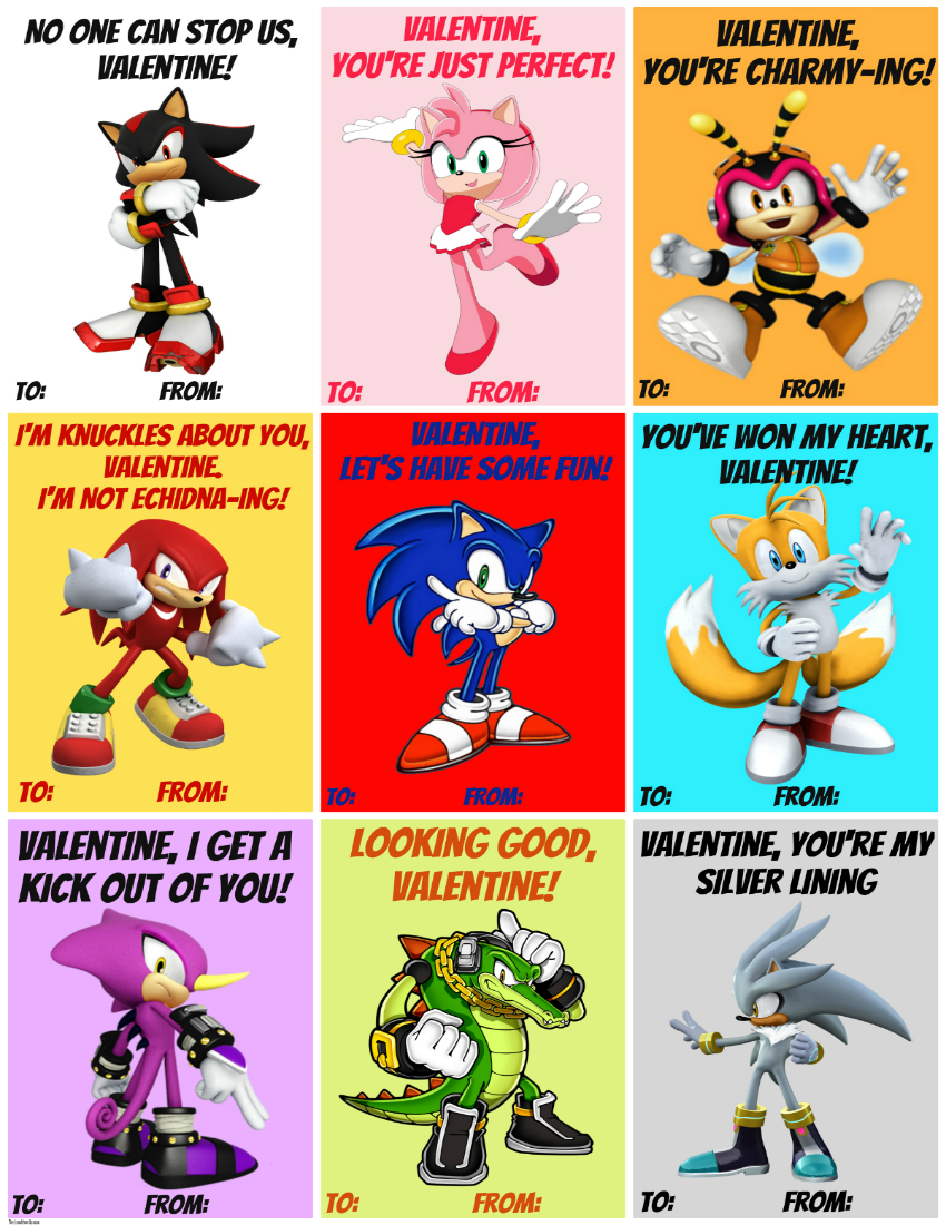 850 x 1100 Free Printable Sonic Valentines from The LUnchbox Season