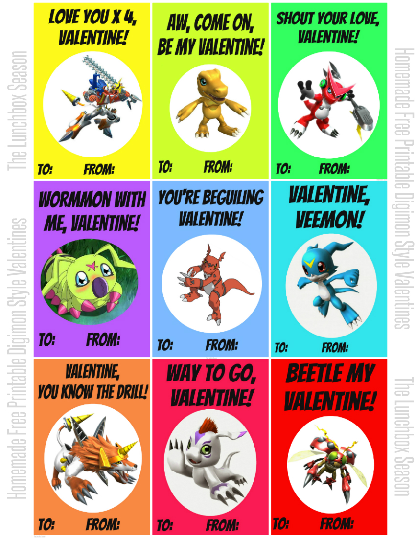 850 x 1100 Homemade Free Printable Digimon Style Valentines