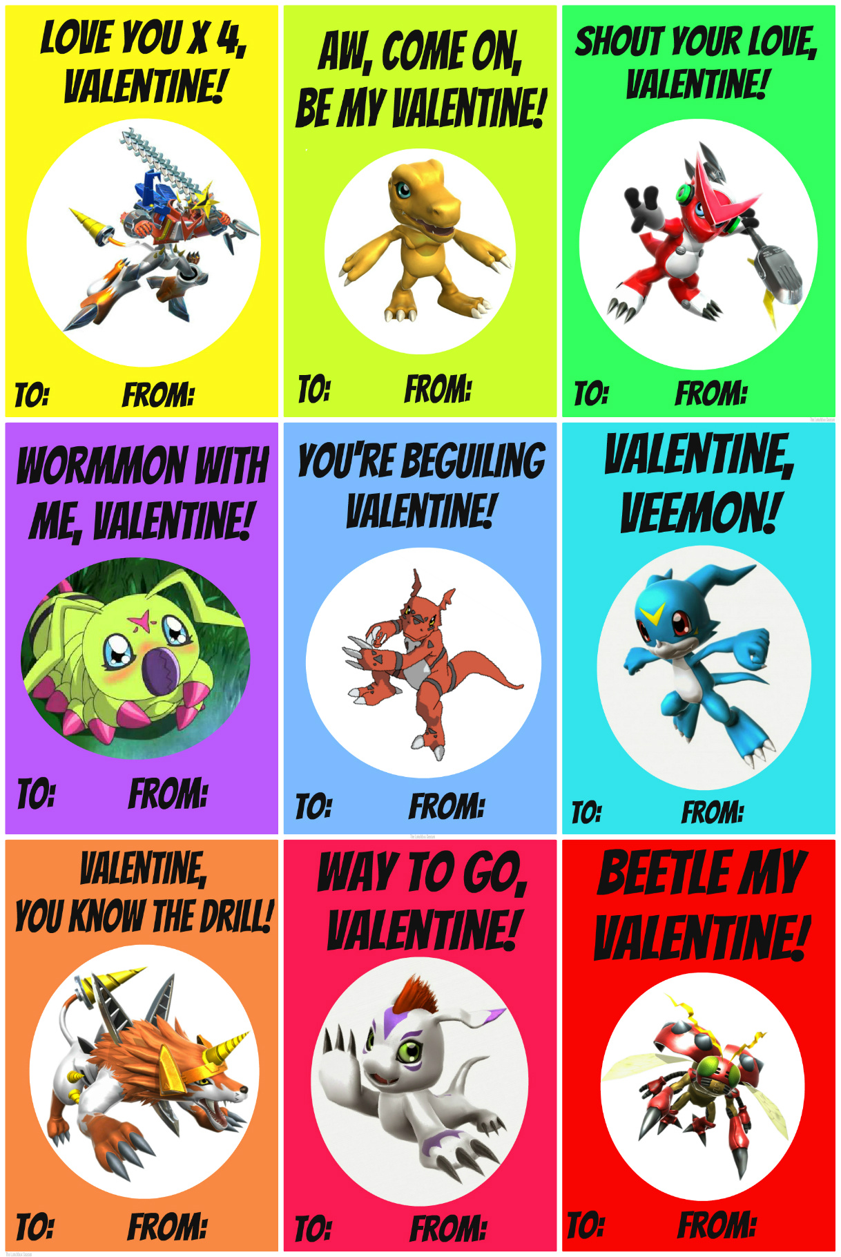 A Full Sheet of Homemade Free Printable Digimon Style Valentines from The Lunchbox Season