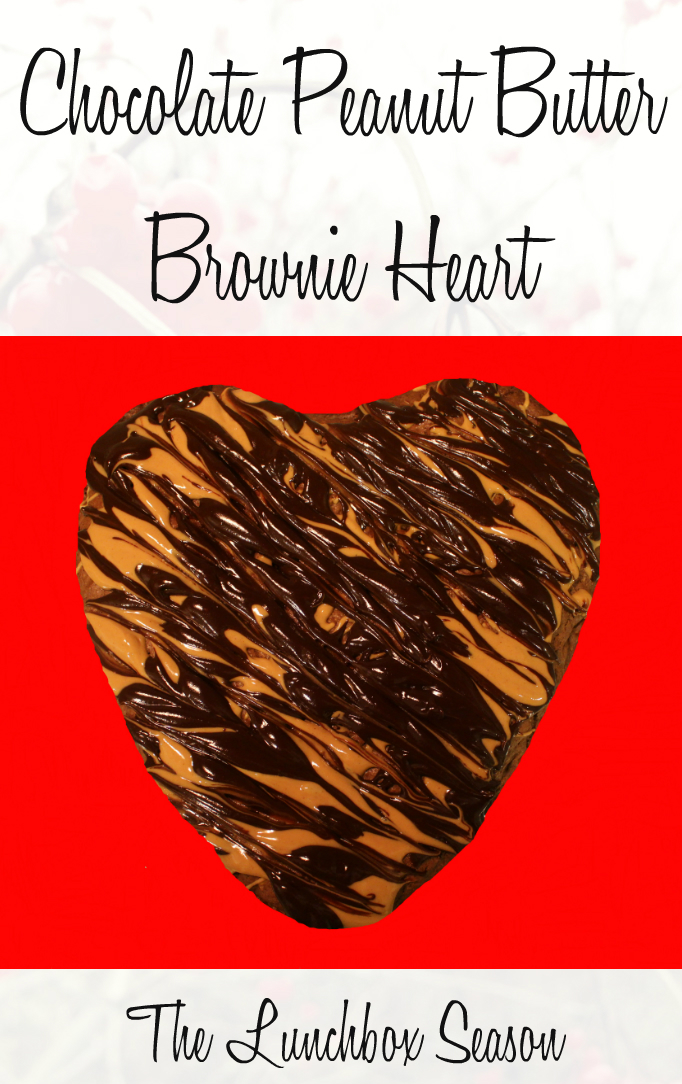 Chocolate Peanut Butter Brownie Heart Recipe from the Lunchbox Season
