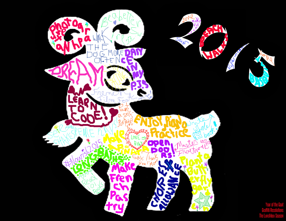 Finished Year of the Goat Graffiti Resolution Sheet from The Lunchbox Season Free Blank Printable version on the site!