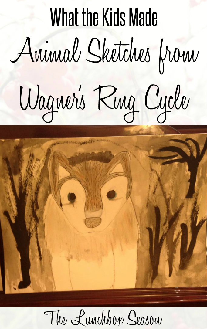 What the kids made animal sketches from wagner's ring cycle
