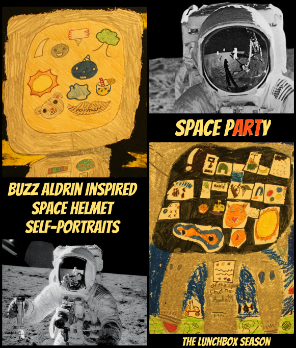 Buzz Aldrin Inspired Space Helment Self-Portrait DIY for Kids