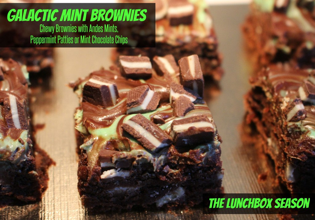 Galactic Mint Brownies with Andes Mints, Peppermint Patties or Mint Chocolate Chips Recipe from The Lunchbox Season
