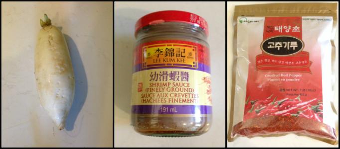 Daikon Fermented Shrimp Paste and Gochugaru or Dried Pepper Powder for Kimchi