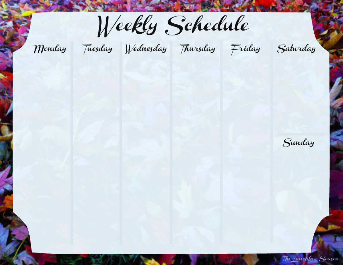 Free Printable Fall Weekly Schedule from The Lunchbox Season IMAGE
