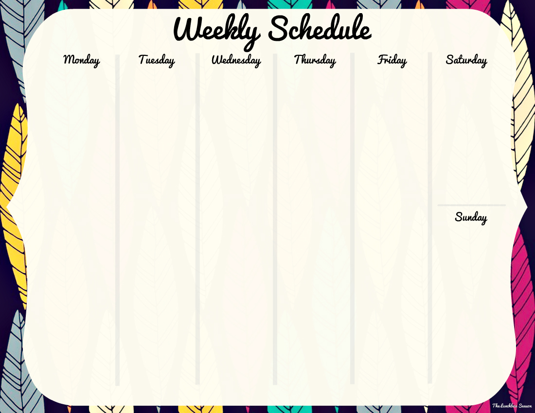 Free Printable Weekly Schedule 1 From The Lunchbox Season