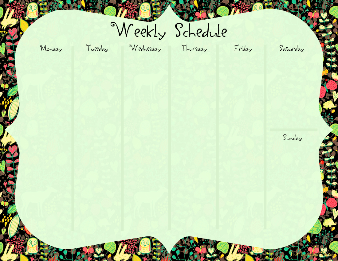 Free Printable Weekly Schedule for Fall 2 From The Lunchbox Season