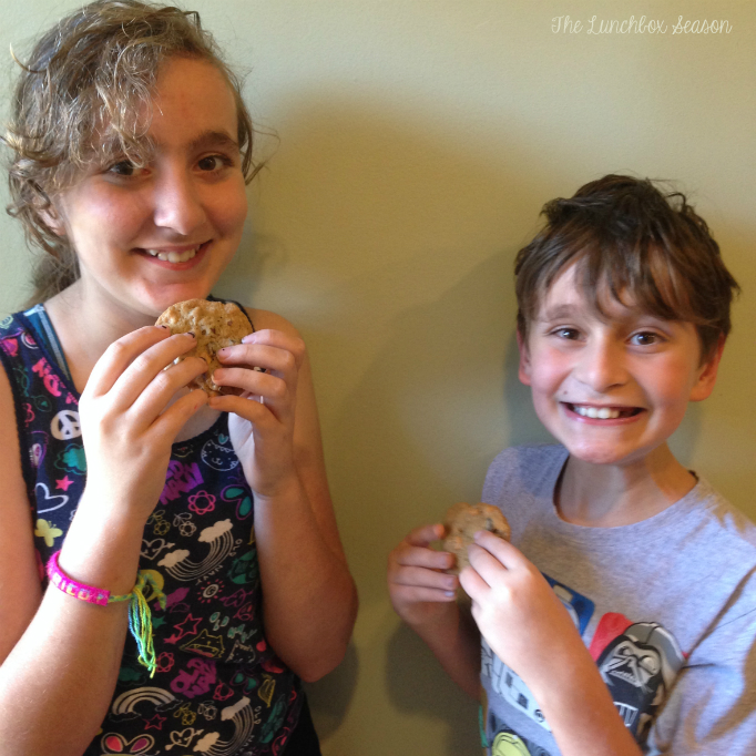 The Kids enjoying their cookies from the Goldfish challenge