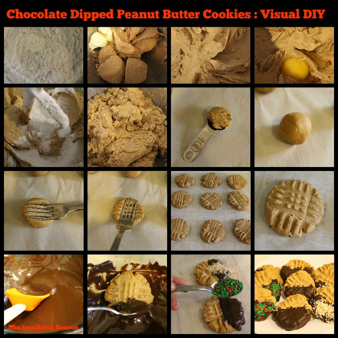 Chocolate Dipped Peanut Butter Cookies Visual DIY