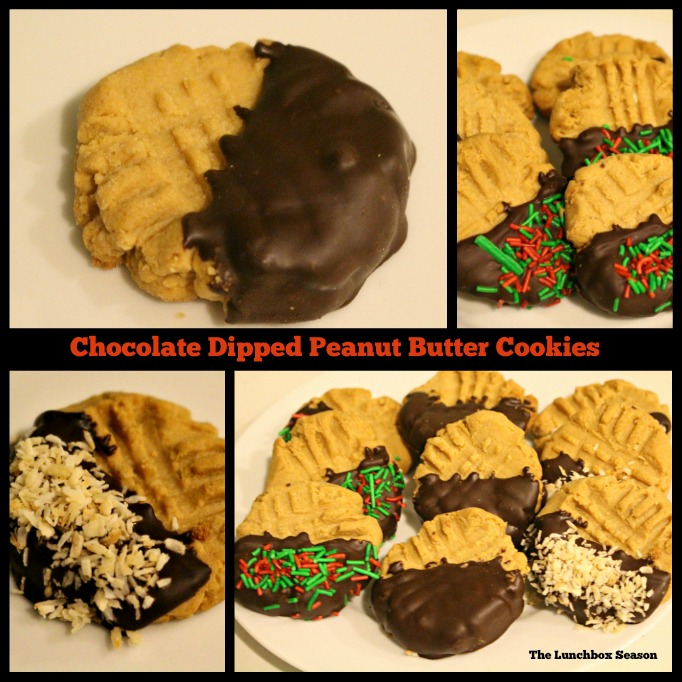 Chocolate Dipped Peanut Butter Cookies from The Lunchbox Season