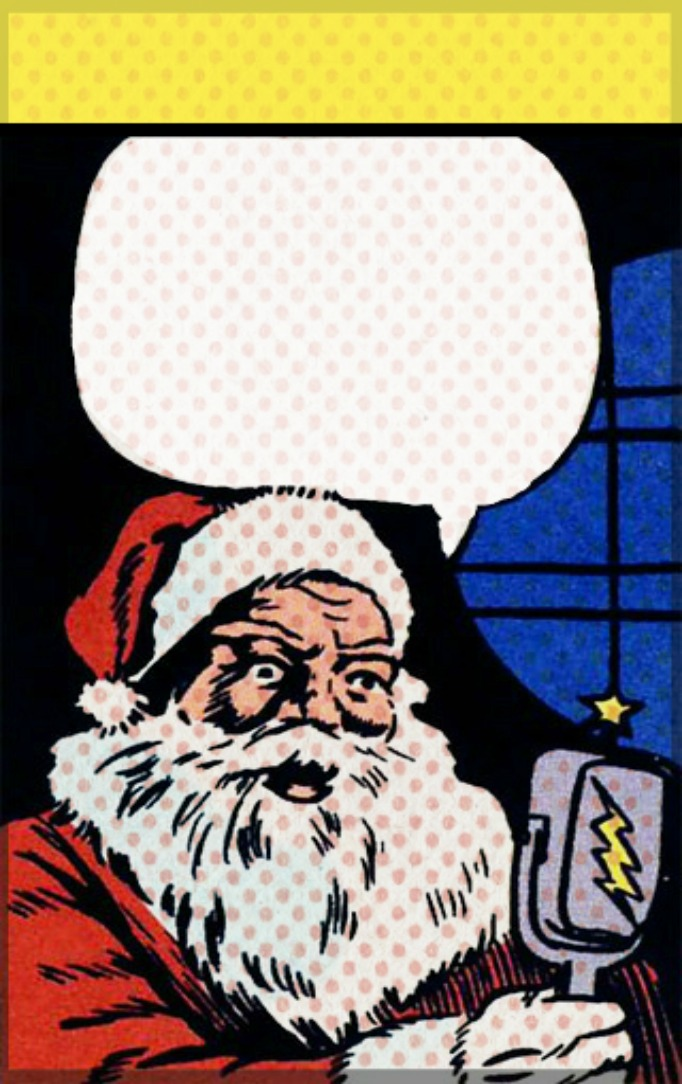 Free printable lichtenstein inspired santa card template from the lunchbox season