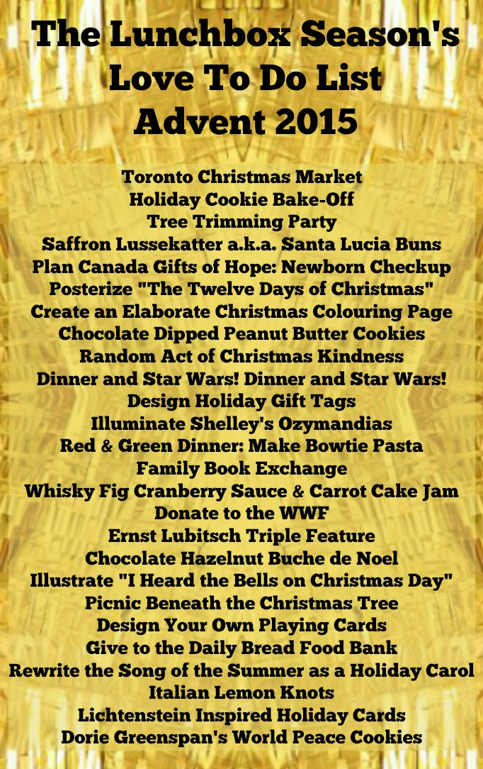 The Lunchbox Season's LOVE TO DO LIST for Advent 2015 Holiday Bucket List