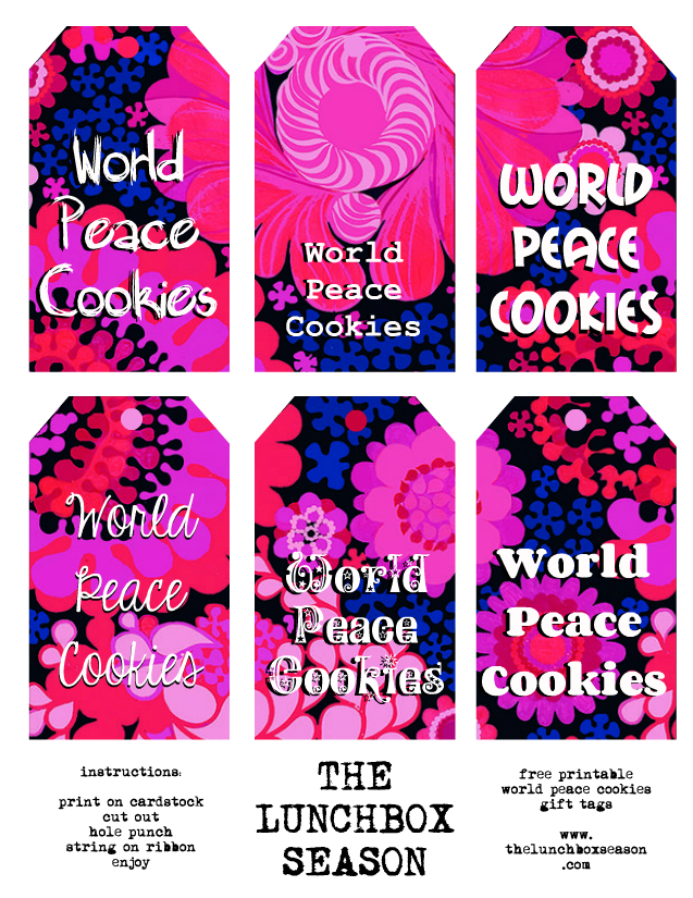The Lunchbox Season's free printable world peace cookies gift tags for personal use only please