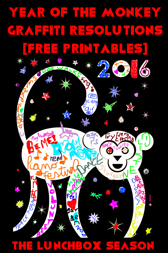 Year of the Monkey Graffiti Resolutions Free Printables from The Lunchbox Season